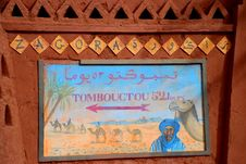 Timbuktu 52 Jours Road Sign. Zagora, Souss-Massa-D Royalty Free Stock Photos
