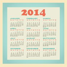 Free 2014 Calendar Royalty Free Stock Photo - 34746155