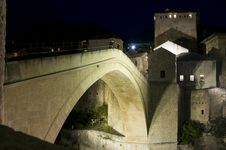 Free Mostar - Old Bridge At Night Royalty Free Stock Image - 34749626