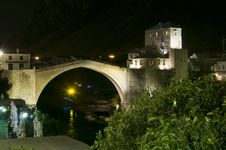 Free Mostar - Old Bridge At Night Royalty Free Stock Images - 34749689