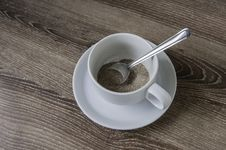 Free Cup Of Coffee On The Wooden Floor. Stock Image - 34752131