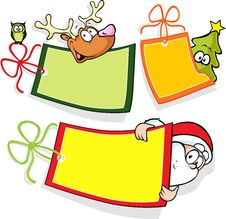 Free Christmas Paper Tag With Santa, Christmas Tree And Royalty Free Stock Photo - 34759045