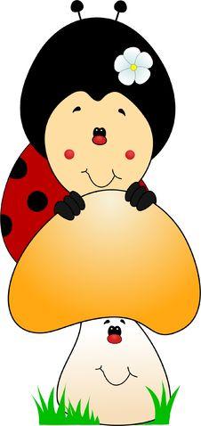 Free Cute Ladybug Cartoon Royalty Free Stock Images - 34760289
