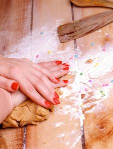 Making Gingerbread Dough Royalty Free Stock Photos