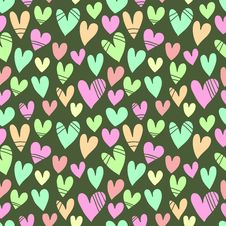 Free Seamless Pattern With A Lot Of Hearts On A Green B Royalty Free Stock Image - 34773056