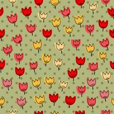 Free Seamless Pattern With Many Of Tulips On A Backgrou Royalty Free Stock Photography - 34773067