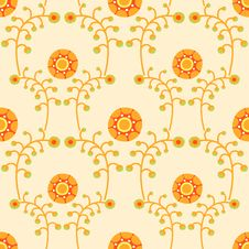 Free Seamless Background With Twigs And Flowers Royalty Free Stock Photos - 34773138