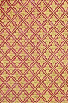 Free Art Pattern Stucco Gold Red Temple Background Stock Photos - 34775123