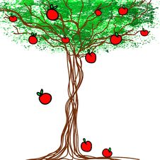 Free Stylized Vector Tree With Apples Royalty Free Stock Photo - 34783605