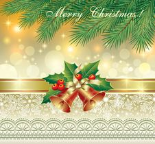 Free Christmas Card With Bells Royalty Free Stock Images - 34783899