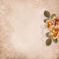 Free Vintage Gorgeous  Background With Lace And Roses Royalty Free Stock Images - 34784539