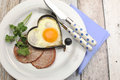 Free Ham With Heart Shape Egg Cooked Breakfast Stock Images - 34798854