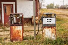Two Vintage Fuel Pumps Royalty Free Stock Images