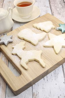 Homemade Christmas Shortbread Cookies On Board - Vertical. Stock Photography