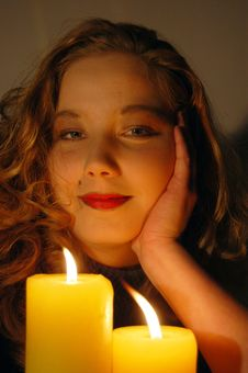 Free Adolescent And Candle Royalty Free Stock Photo - 3481725