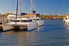 Free Docked Catamaran Sailboats Royalty Free Stock Image - 3484526