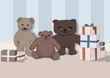 Free Cute Teddy Bears + Presents Royalty Free Stock Photo - 3484615