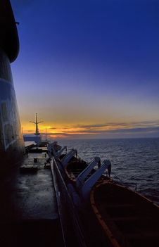 Free Sunset On A Ship No.1 Stock Photography - 3488742