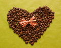 Free Coffee Beans In A Shape Of Heart With A Bow Royalty Free Stock Images - 34803229