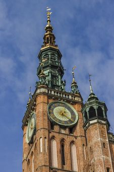 Free Main Town Hall Clock Tower In The Old Town Of Gdansk In Poland. Royalty Free Stock Photo - 34802265