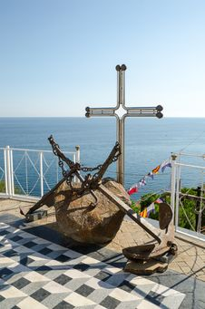 Old Anchors Near The Temple-beacon In Malorechenskoye. Crimea. Stock Images