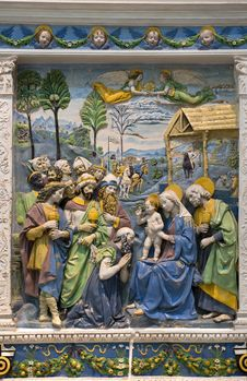 Andrea Della Robbia — Adoration Of The Magi Royalty Free Stock Photos