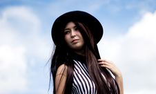 Free Girl In Hat And Blue Sky Royalty Free Stock Images - 34816349