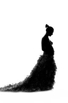 Free Fashionable Beautiful Pregnant In Luxurious Skirt Royalty Free Stock Images - 34820179