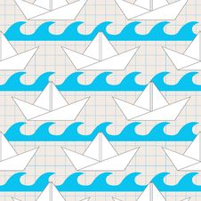 Free Seamless Pattern With Paper Boats On The Waves Royalty Free Stock Photography - 34821867