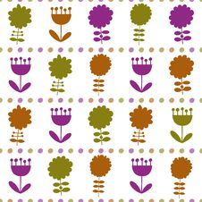 Free Seamless Pattern With Different Flowers Royalty Free Stock Photo - 34831945