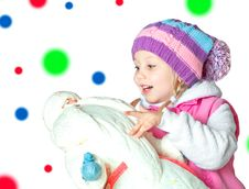 Portrait Of A Little Girl Holding Santa Claus, Christmas, Royalty Free Stock Images