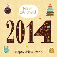Happy New Year 2014 Greeting Card. Royalty Free Stock Image