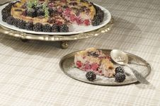 Free Slice Of Blackberry Clafoutis On Metal Plate With Fresh Berries Stock Images - 34839684