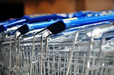 Row Of Metal Shopping Carts In A Supermarket Stock Image
