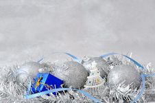 Free Christmas Decoration With Balls Gift Box Ribbon Stock Photos - 34841303