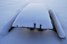Free Snow-covered Table And Benches Royalty Free Stock Photos - 34848948