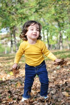 Free Little Boy In Autumn Park Stock Images - 34849044