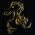 Free Gold Silhouette Of A Horse On A Black Background. Stock Photography - 34858162