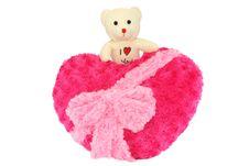 Teddy Bear Above Red Heart Royalty Free Stock Photos