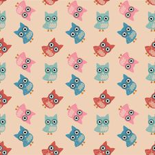 Free Owl Colorful Seamless Pattern Royalty Free Stock Photography - 34853567