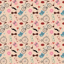 Hipster Doodles Colorful Seamless Pattern Royalty Free Stock Photos