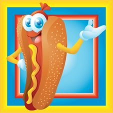 Free Hot Dog Cartoon Character With Frame Stock Images - 34854324