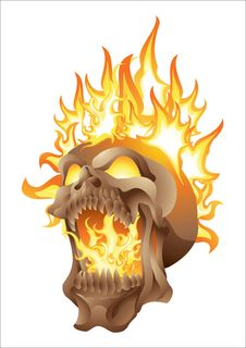 Free Skull In Flames Isolated Royalty Free Stock Photo - 34854775