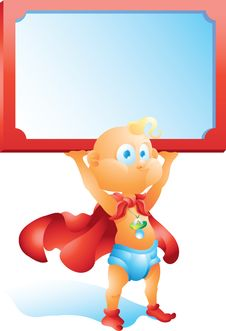 Free Super Hero Baby Holding Blank Sign Stock Photography - 34854852
