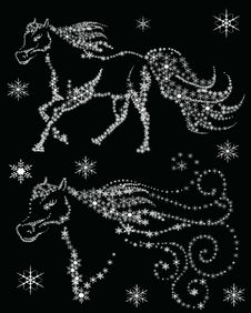 Free Silhouettes Of Horses In The Snow Flakes Stock Photography - 34856312
