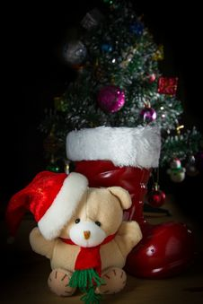Free Cute Toy Christmas Bear Royalty Free Stock Image - 34863116
