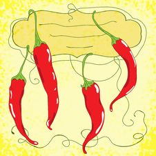 Vector Background With Red Chili Peppers Stock Photos