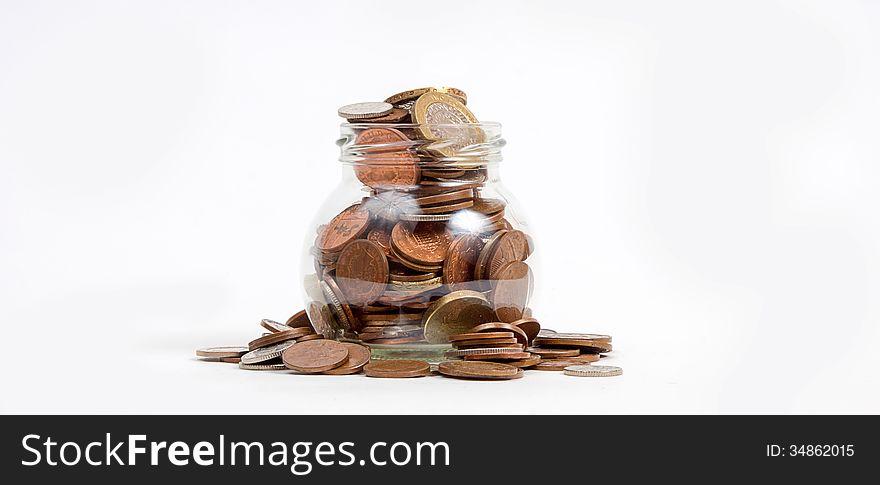 Money jar owerflowing