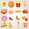 Free Fast Food Icons Stock Photography - 34874342