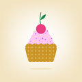 Free Cake With Cherry  On The Background Stock Images - 34891114